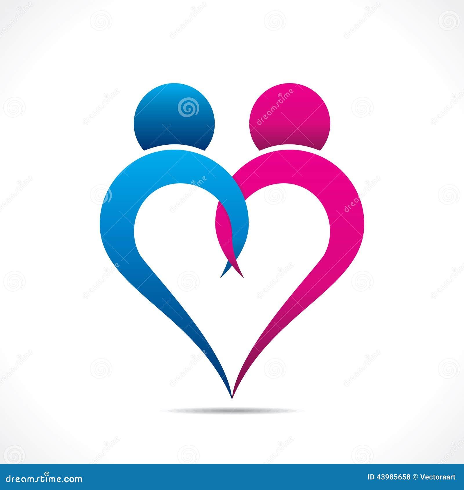 Creative Couple Icon Or Happy Valentine Day Design Stock Vector