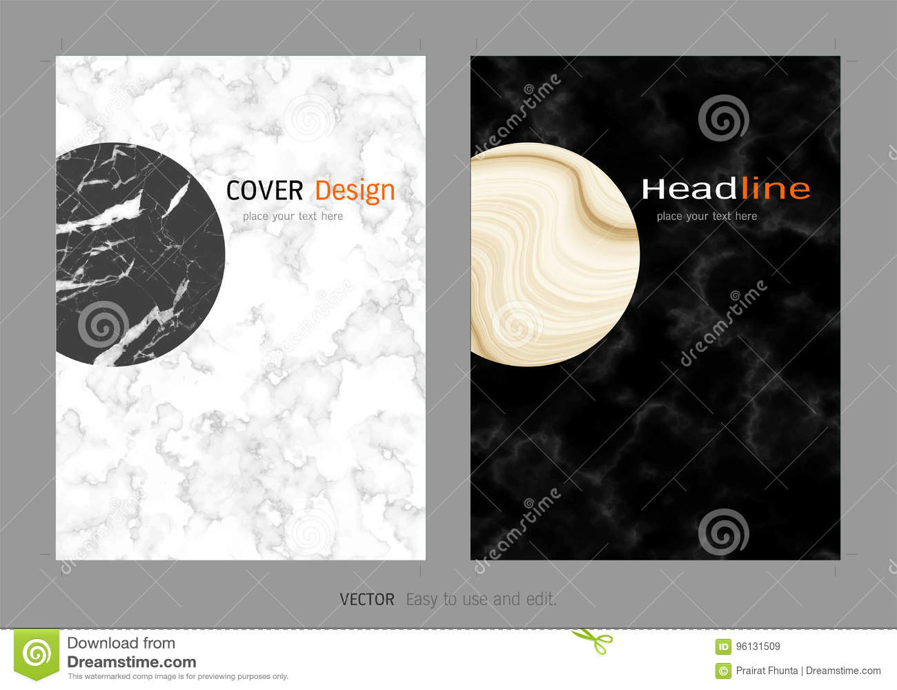 creative cover design layout template, marble texture background