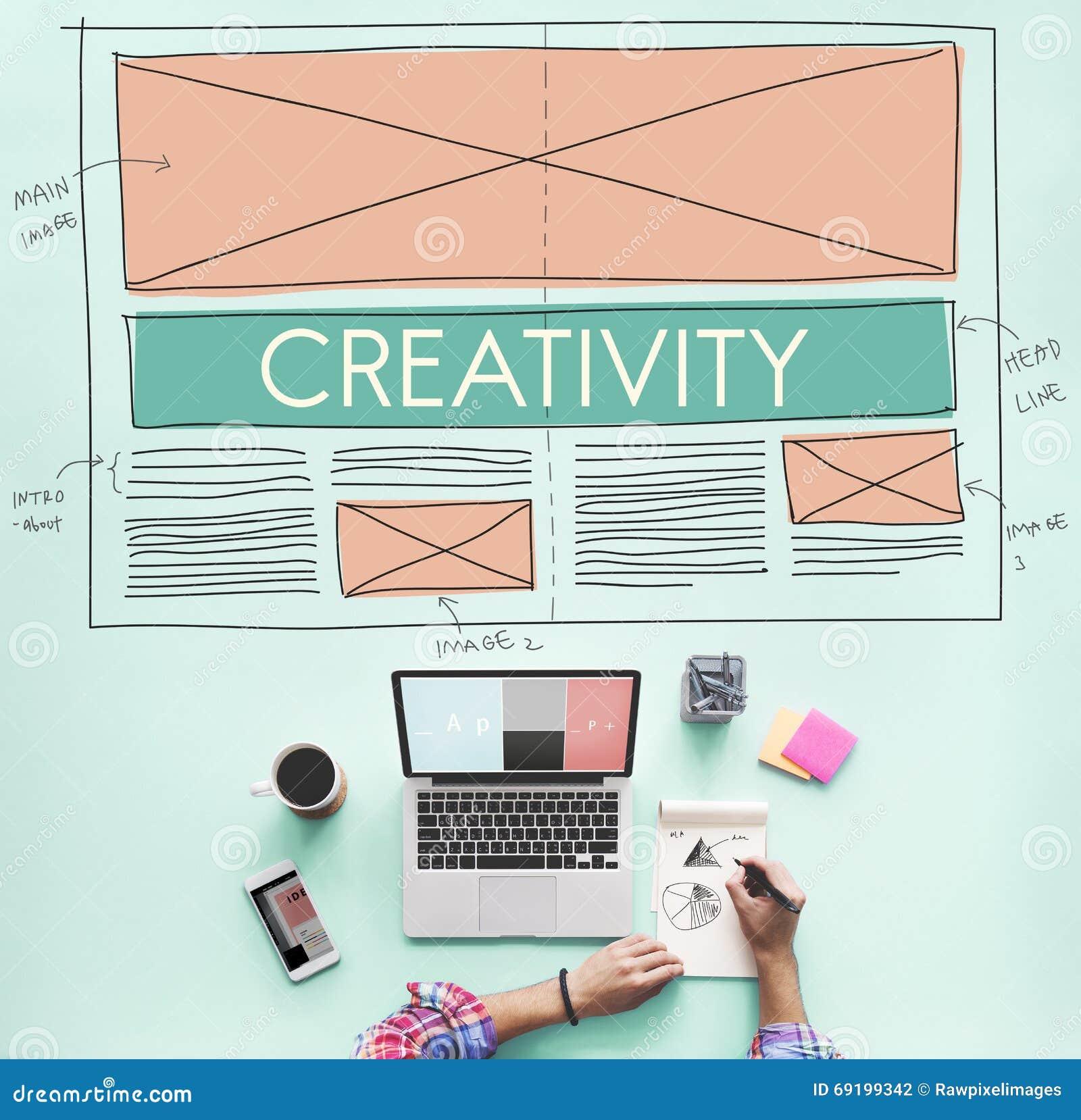 creative creativity web design layout concept stock photography