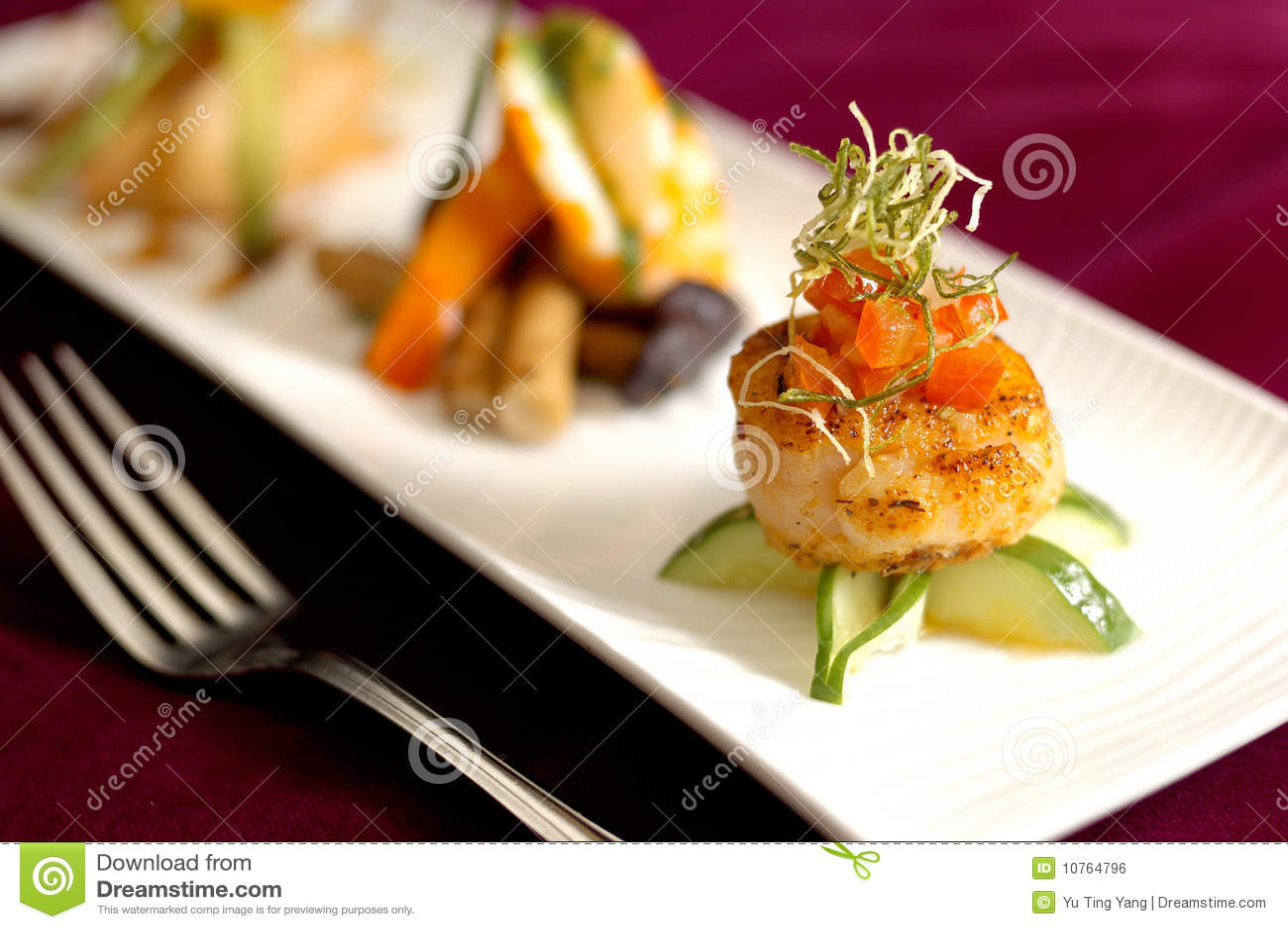 Creative Cuisine Appetizer Scallops Seafood Stock Photo