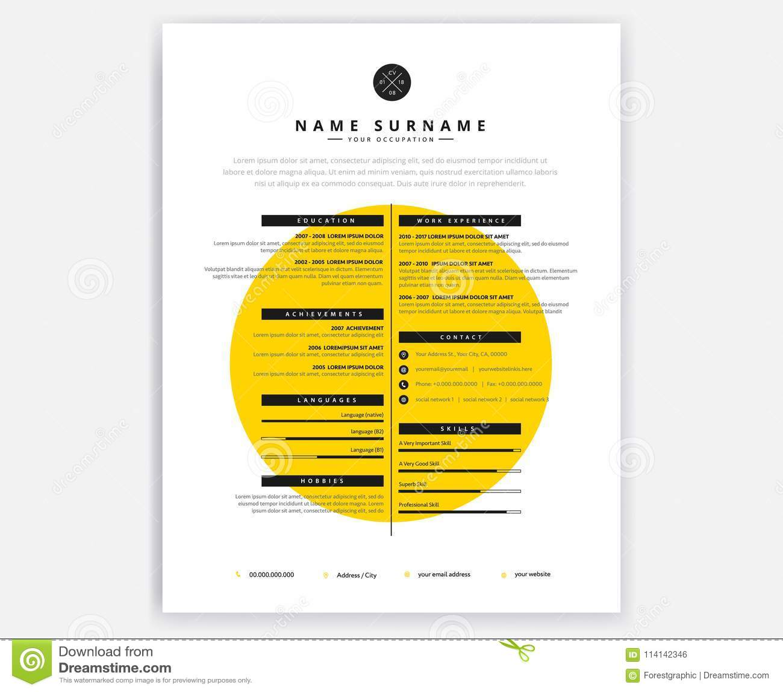 Creative Curriculum Vitae Cv Yellow Design Template For Artistic