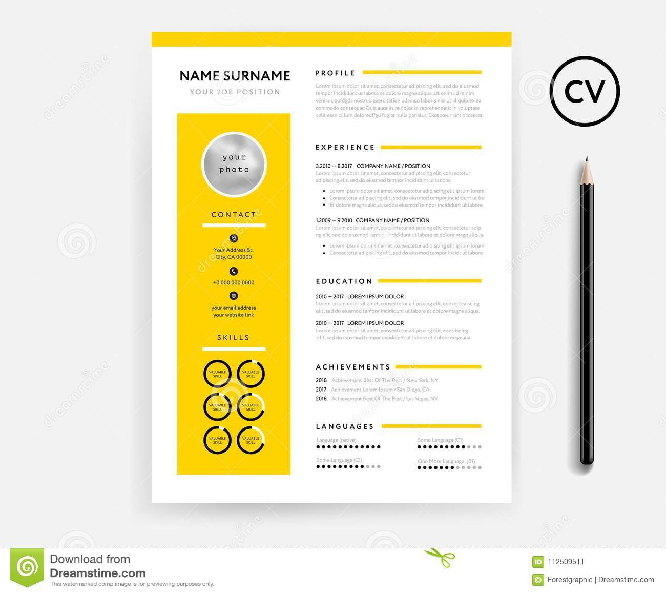 creative cv    resume minimal template