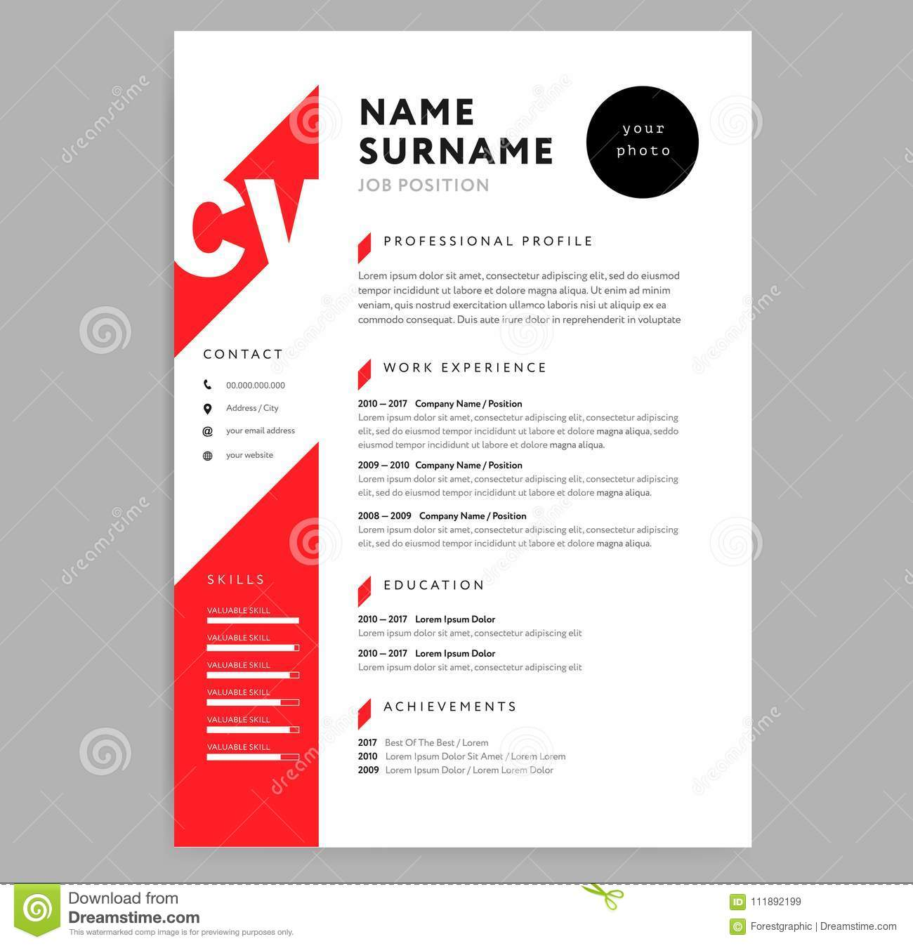 Creative Cv Resume Template Red Color Background Minimalist