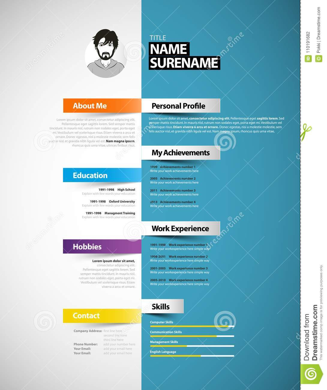 Onwijs Creative Cv Template With Paper Stripes. Stock Vector FS-14