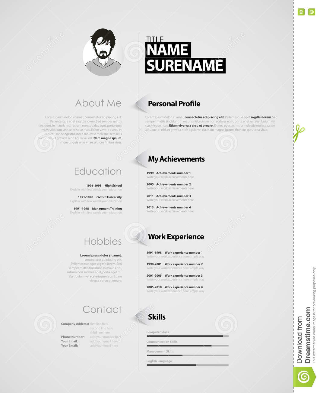 Creative Cv Template With Paper Stripes Stock Vector Illustration