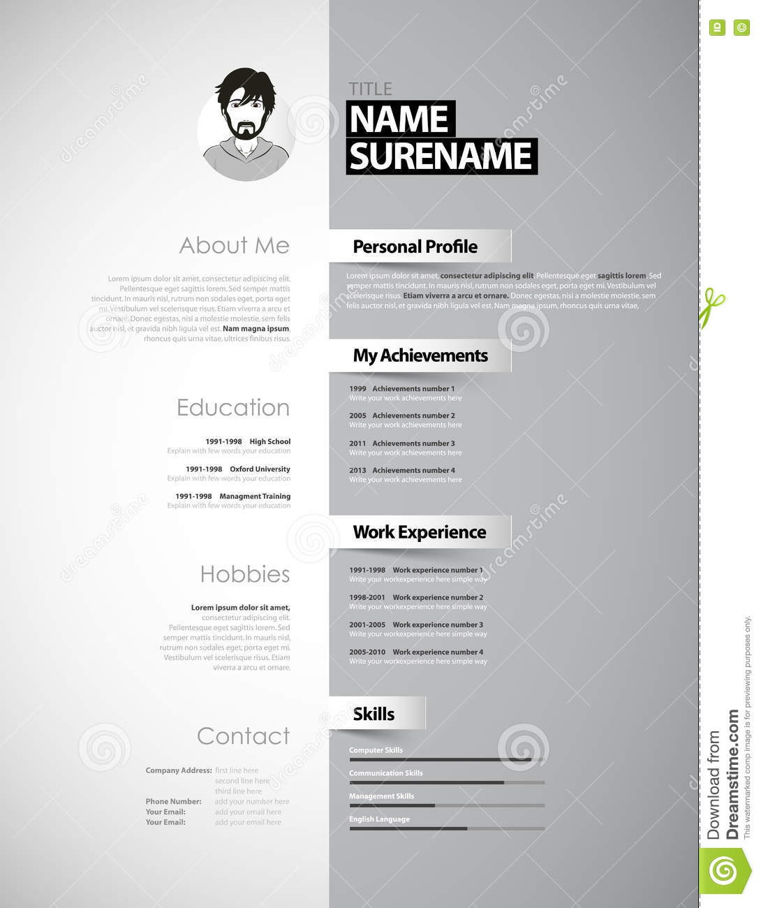 creative cv template paper stripes stock vector image creative cv template paper stripes