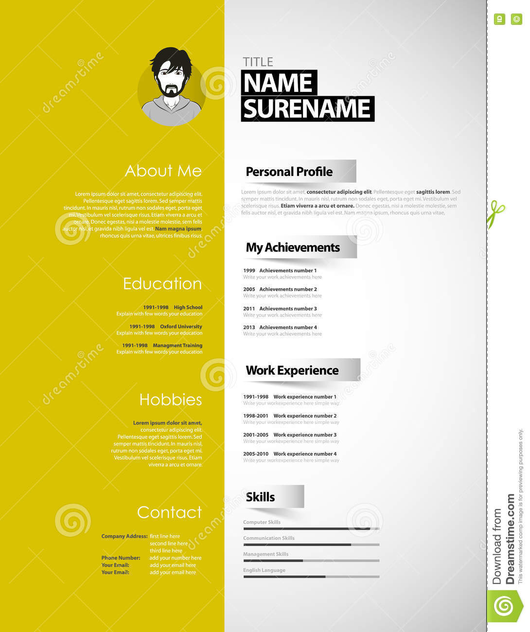 Creative Cv Template With Paper Stripes Stock Illustration