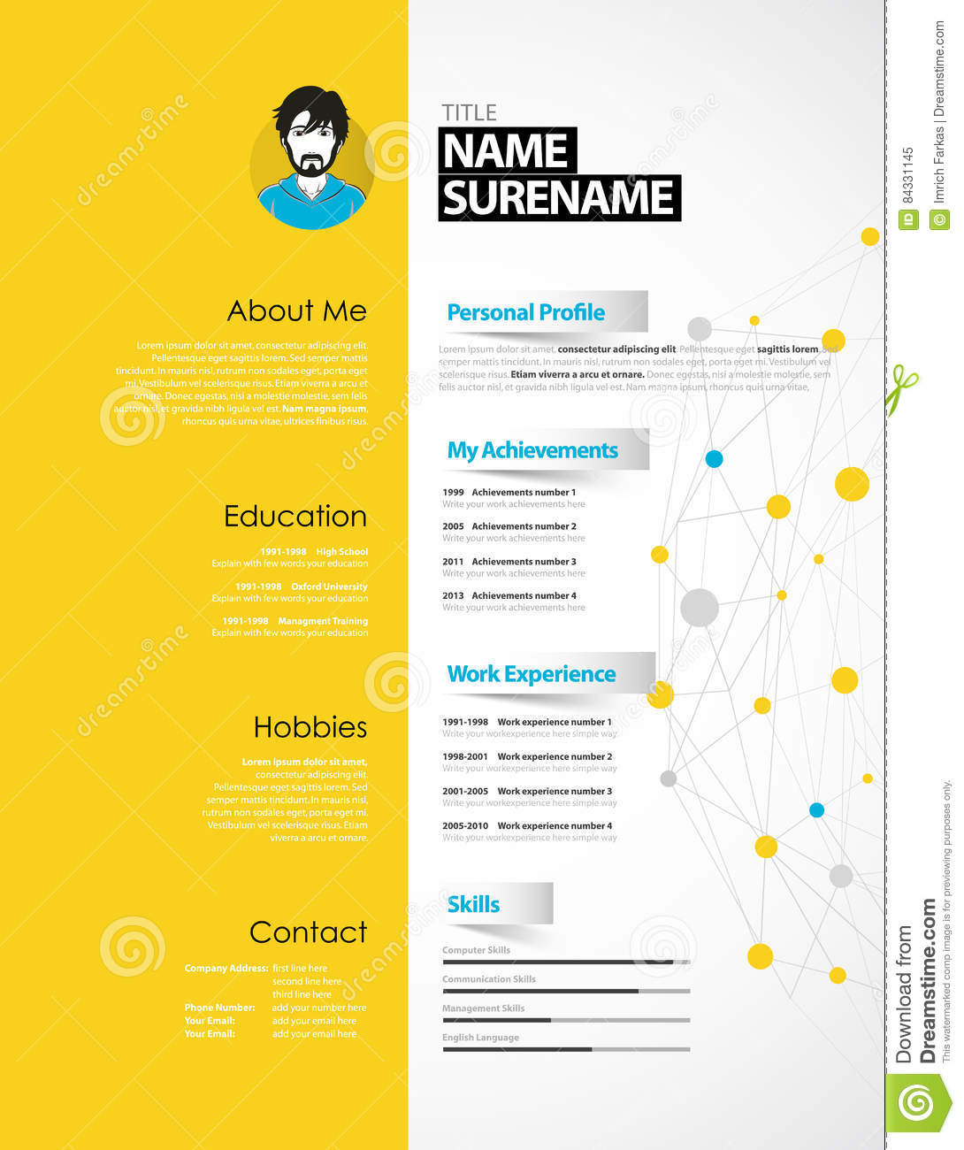 creative cv template yellow paper stripe stock vector creative cv template yellow paper stripe