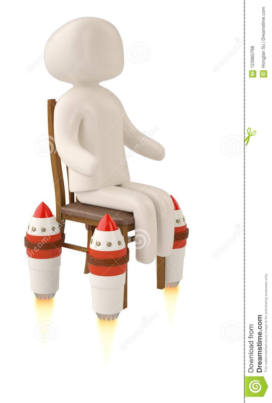 Ordinaire Download Creative 3D Illustration A Character On Rocket Chair. Stock  Illustration   Illustration Of Illustration
