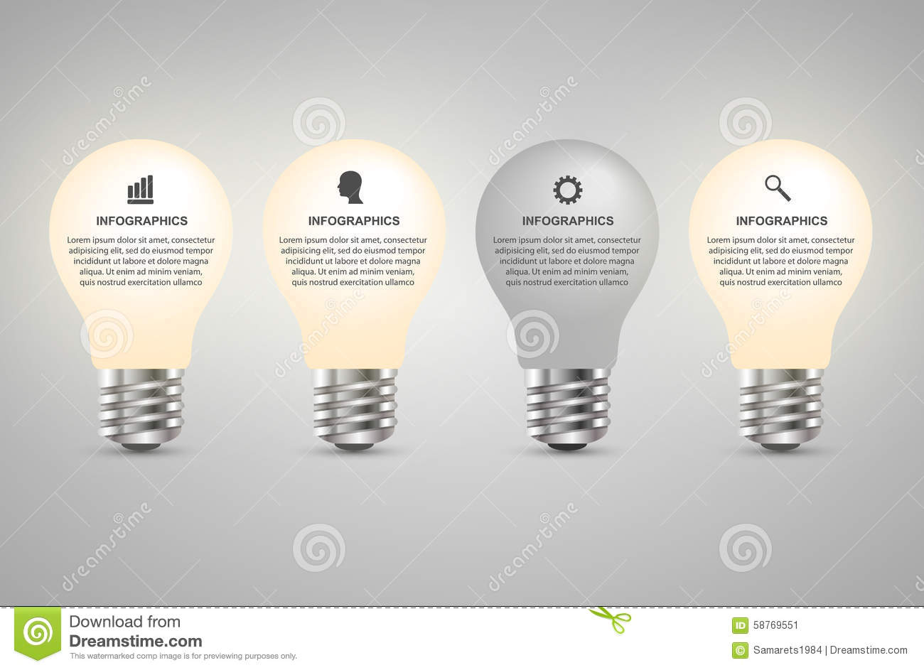Creative d light bulb infographics design template stock vector
