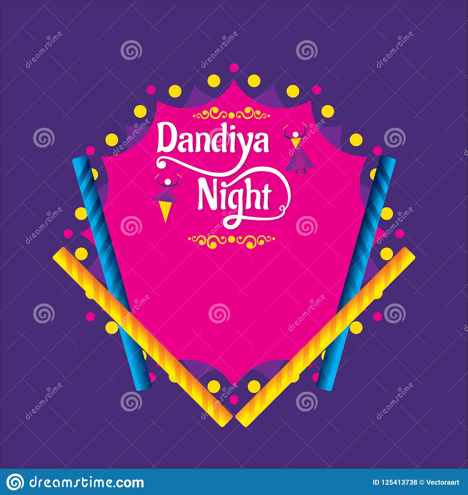Creative Dandiya Night Invitation Card Design Stock Vector