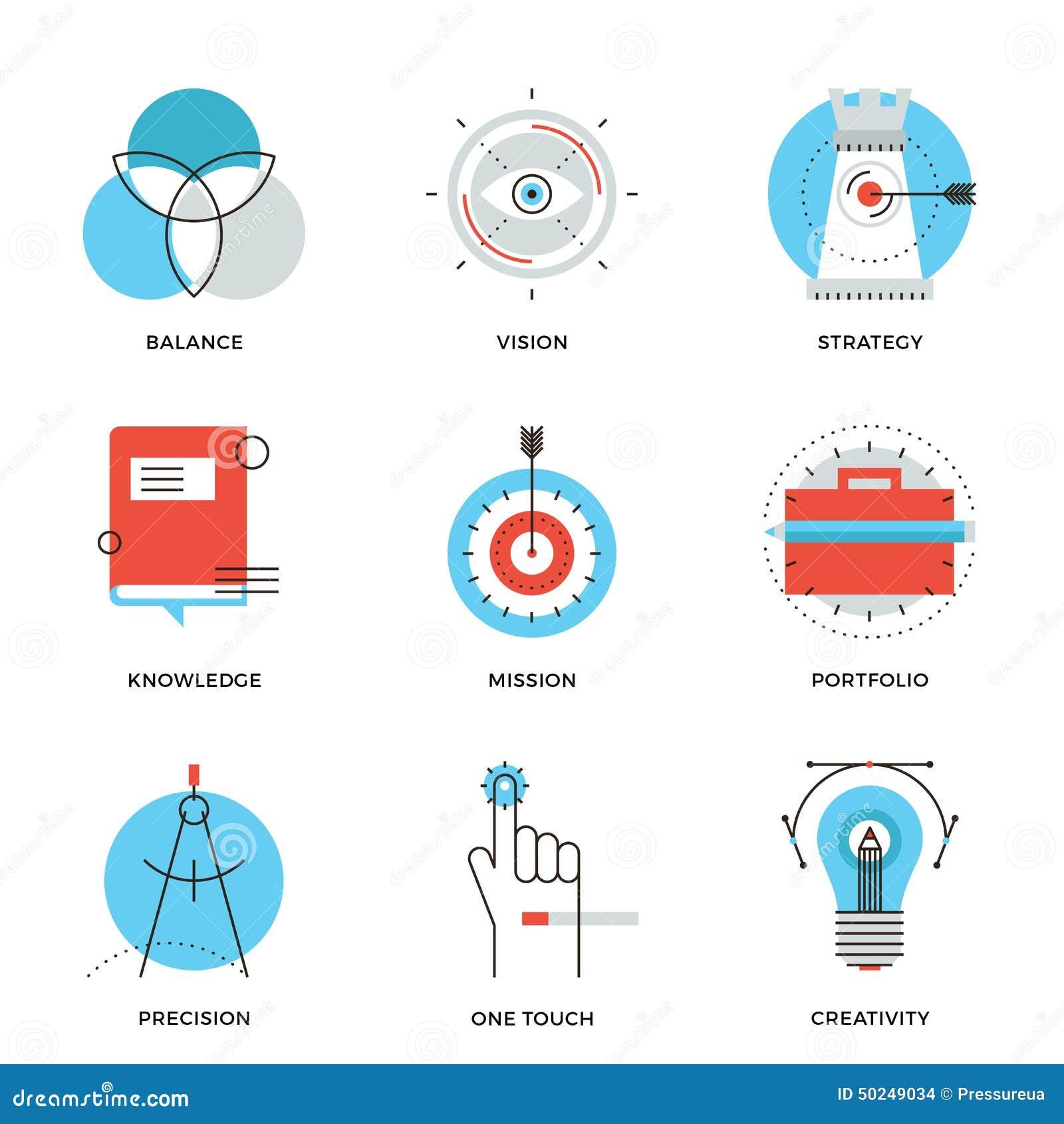 Creative design elements line icons set stock vector for Strategic design agency