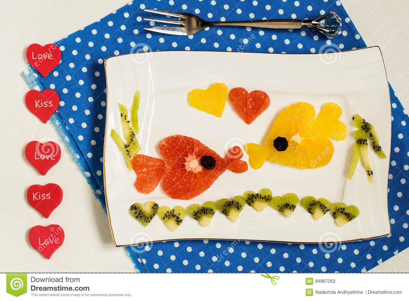 Creative Design Of Fruit Salad For Valentines Day Stock Image