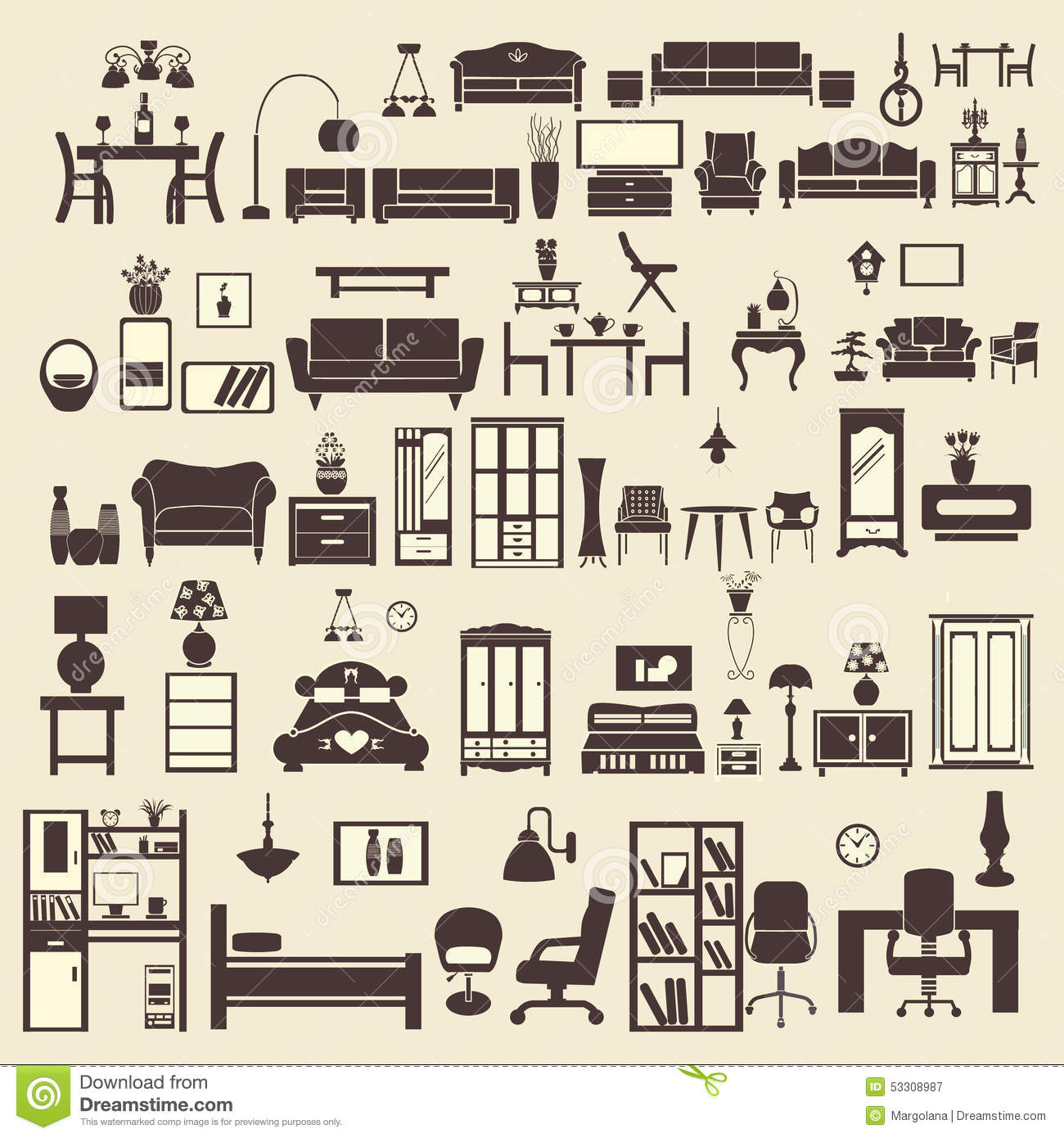 creative furniture icons set flat design. Creative Design Furniture Icons Set Interior- Illustration Creative Flat T