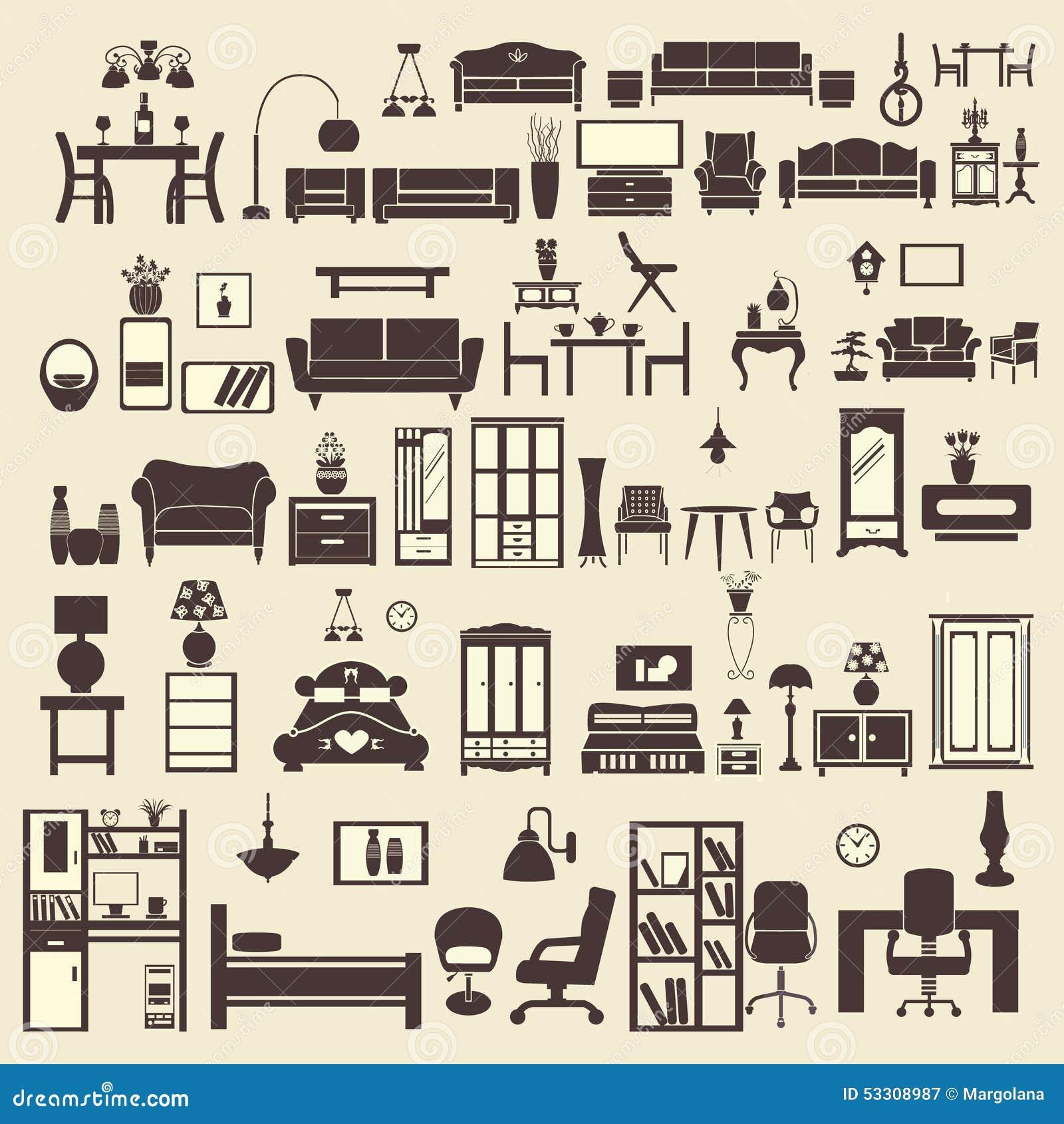Flat Furniture Icons Interior