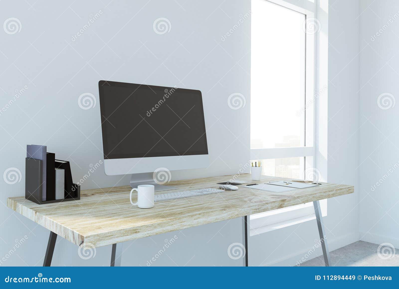 Creative Designer Desk With Empty Computer Stock Illustration Illustration Of Computer Device 112894449