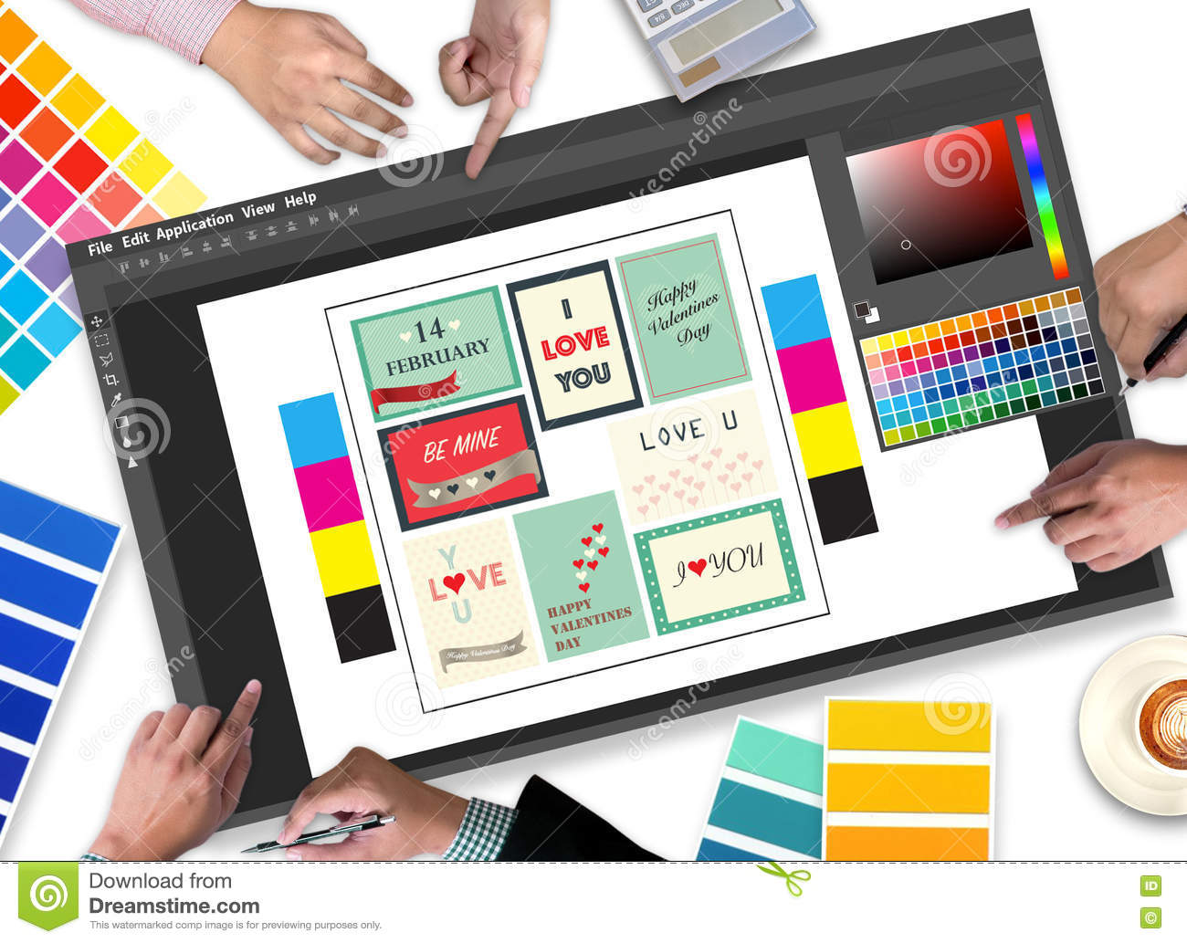Creative designer graphic designer at work color swatch for Digital blueprint maker
