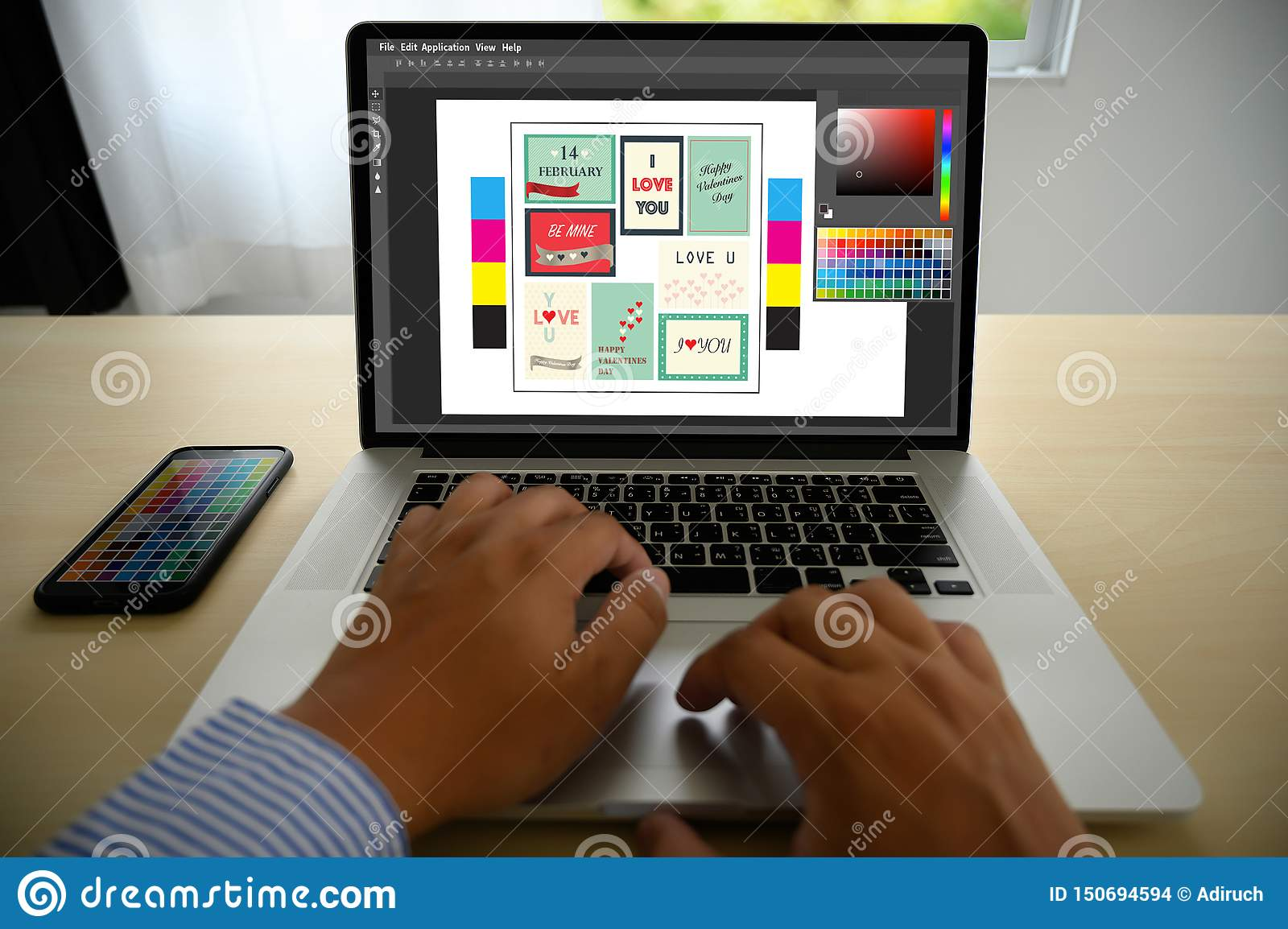Creative Designer Graphic at work. , Illustrator Graphic designer working digital tablet and computer Color swatch samples