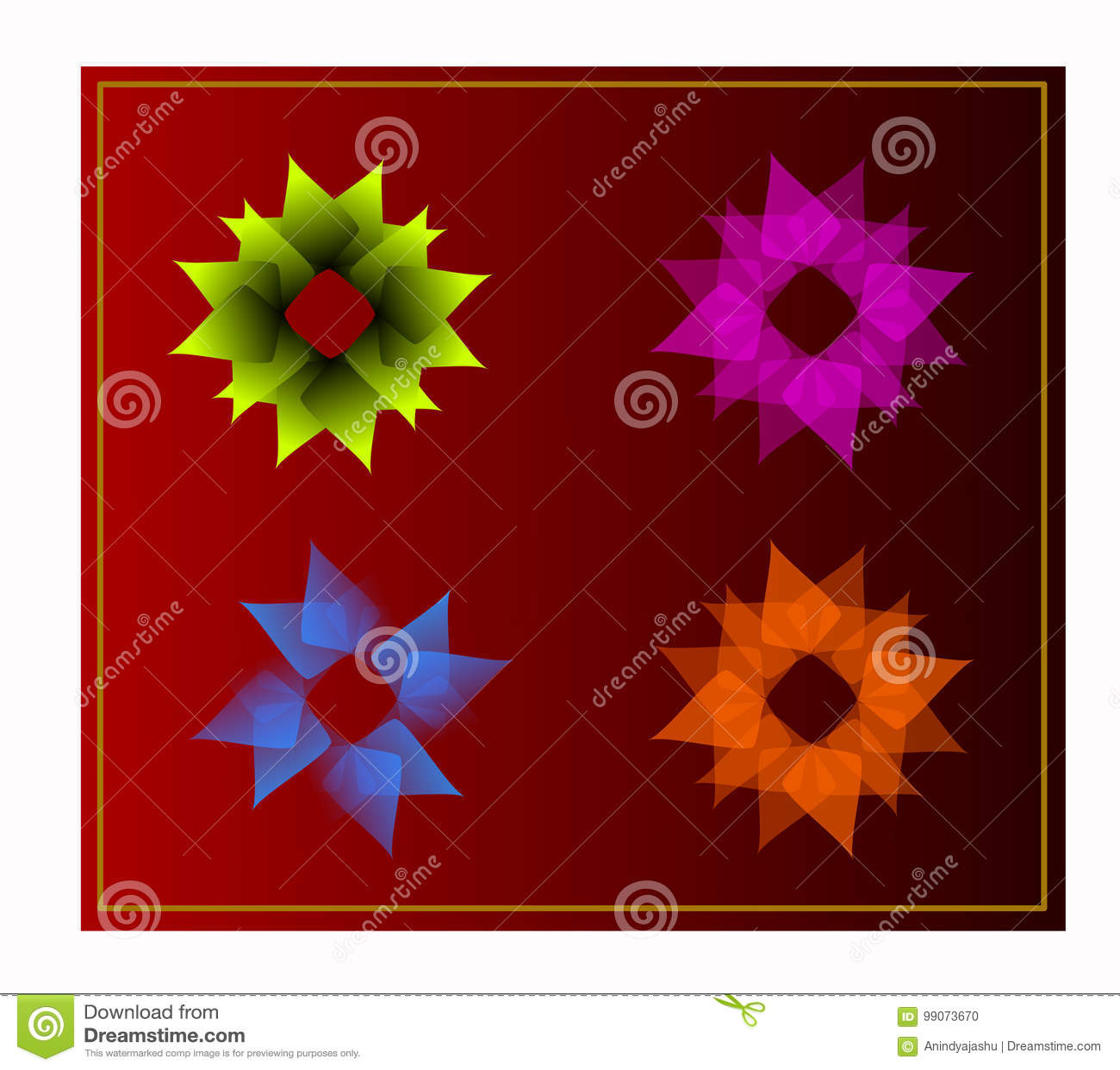 Creative Digital Flower Logo And Graphic Icon Stock Illustration
