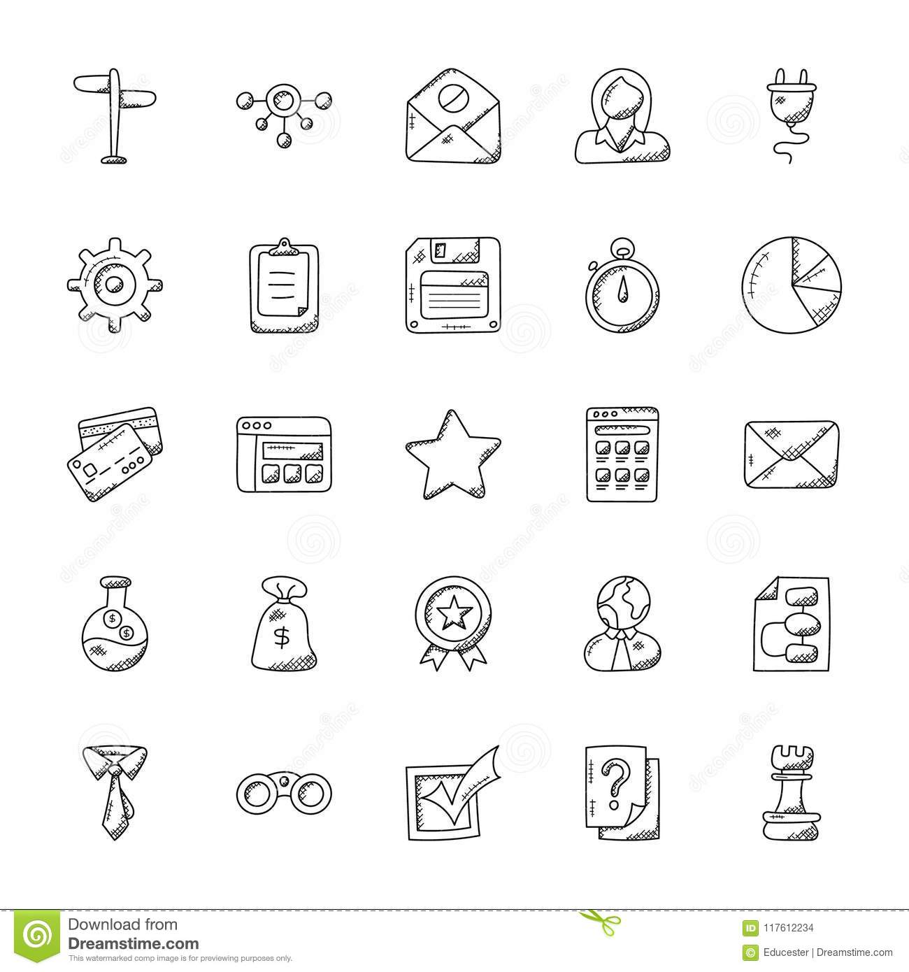 Collection Of Office Doodle Icons Stock Illustration - Illustration