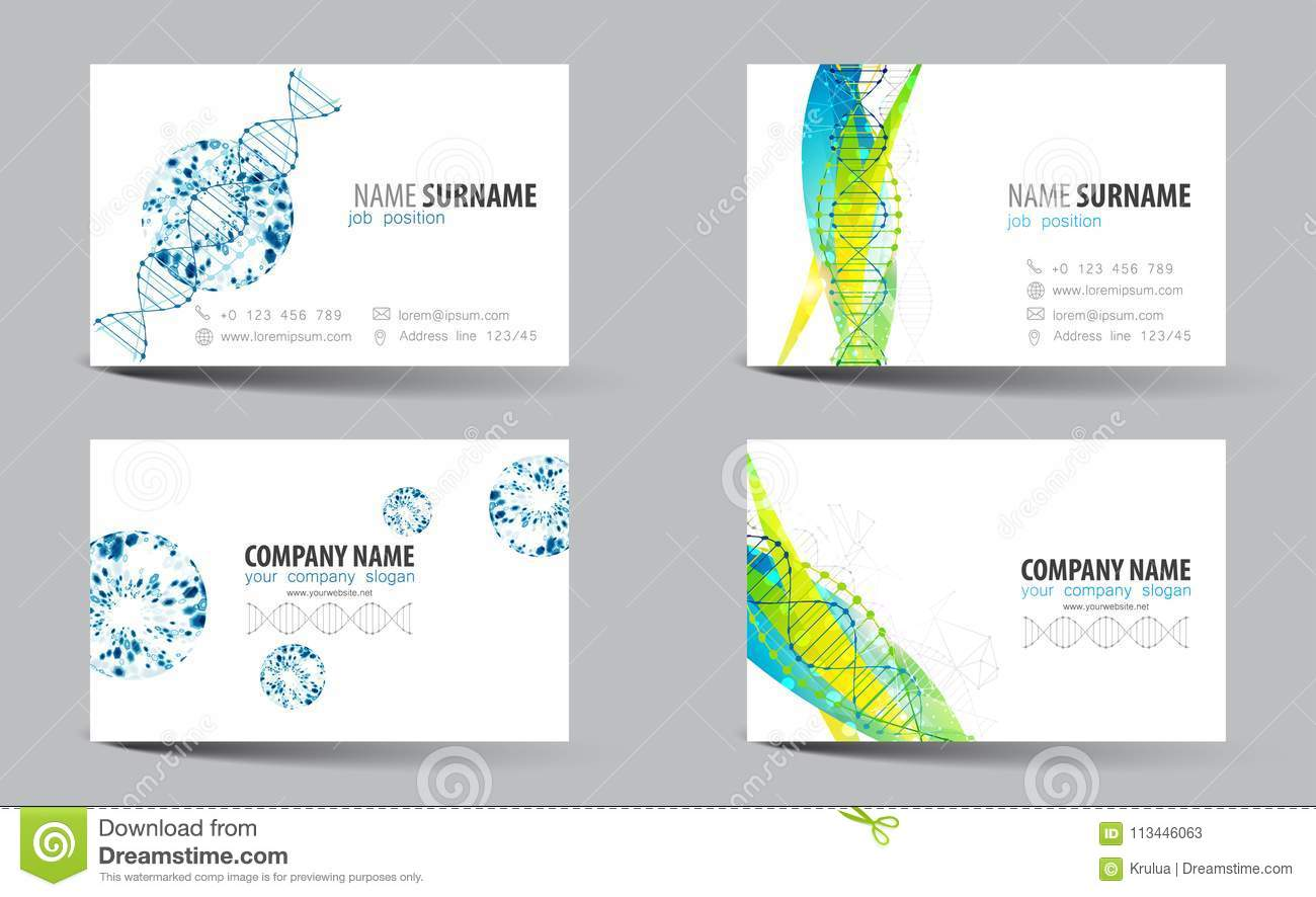 Creative Double-sided Business Card Template. DNA Theme. Stock ...