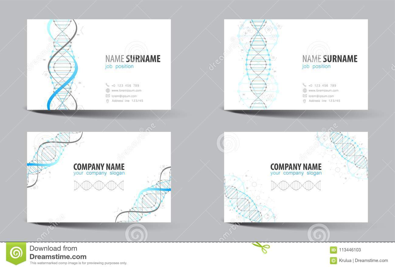 Creative double sided business card template dna theme stock creative double sided business card template dna theme vector illustration for work in office flashek Images