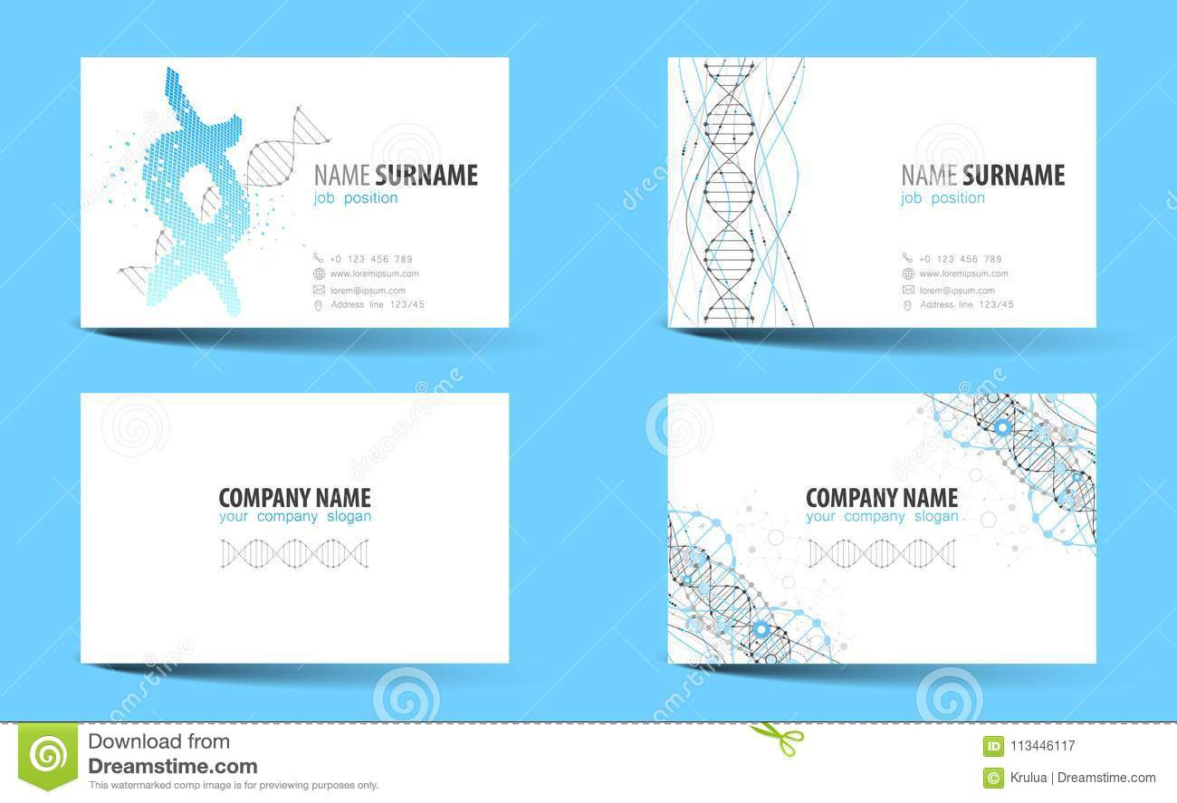 Creative double sided business card template dna theme stock creative double sided business card template dna theme vector illustration for work in office accmission Choice Image