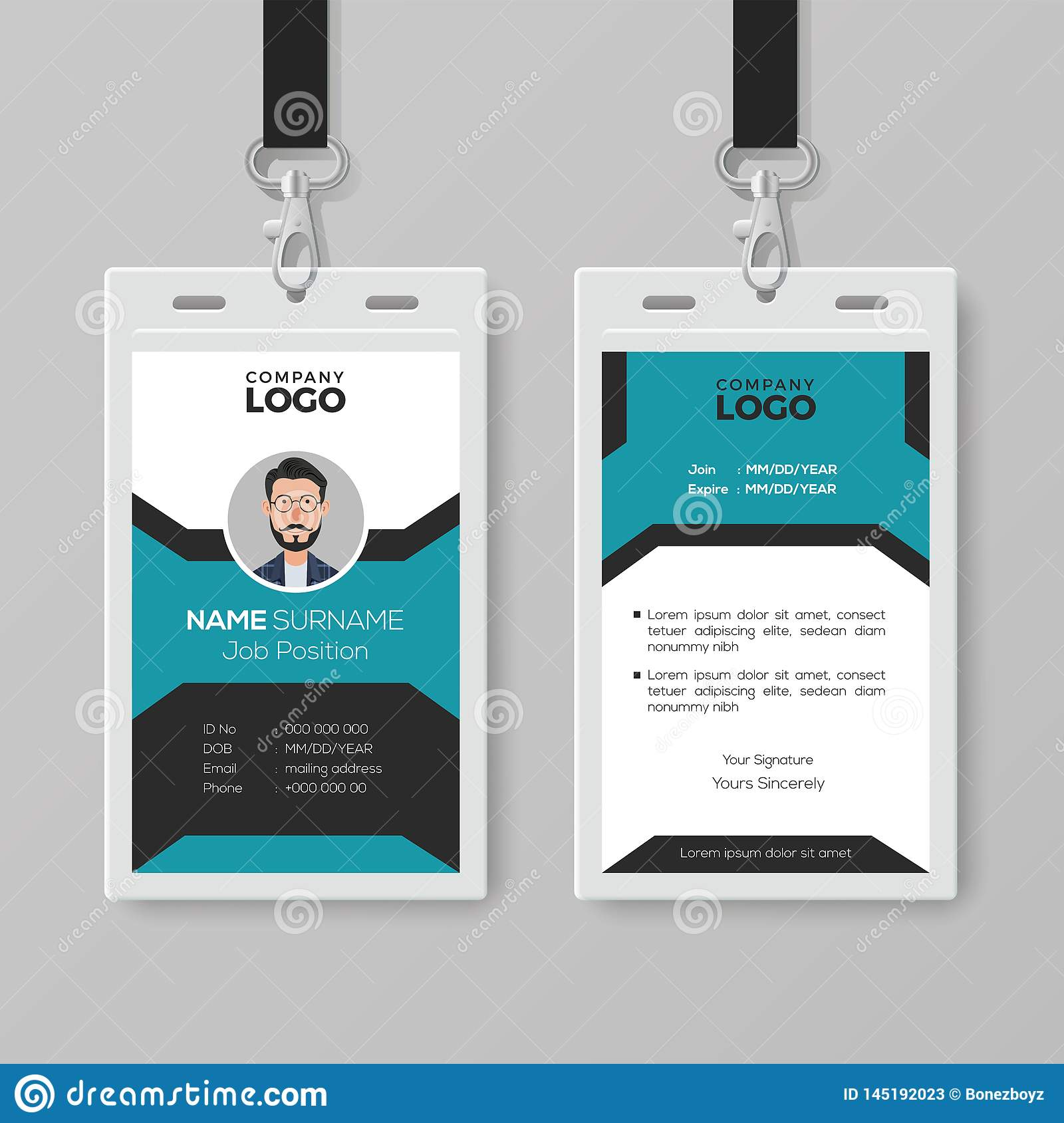 Employee Identification Card Template Free Download from thumbs.dreamstime.com