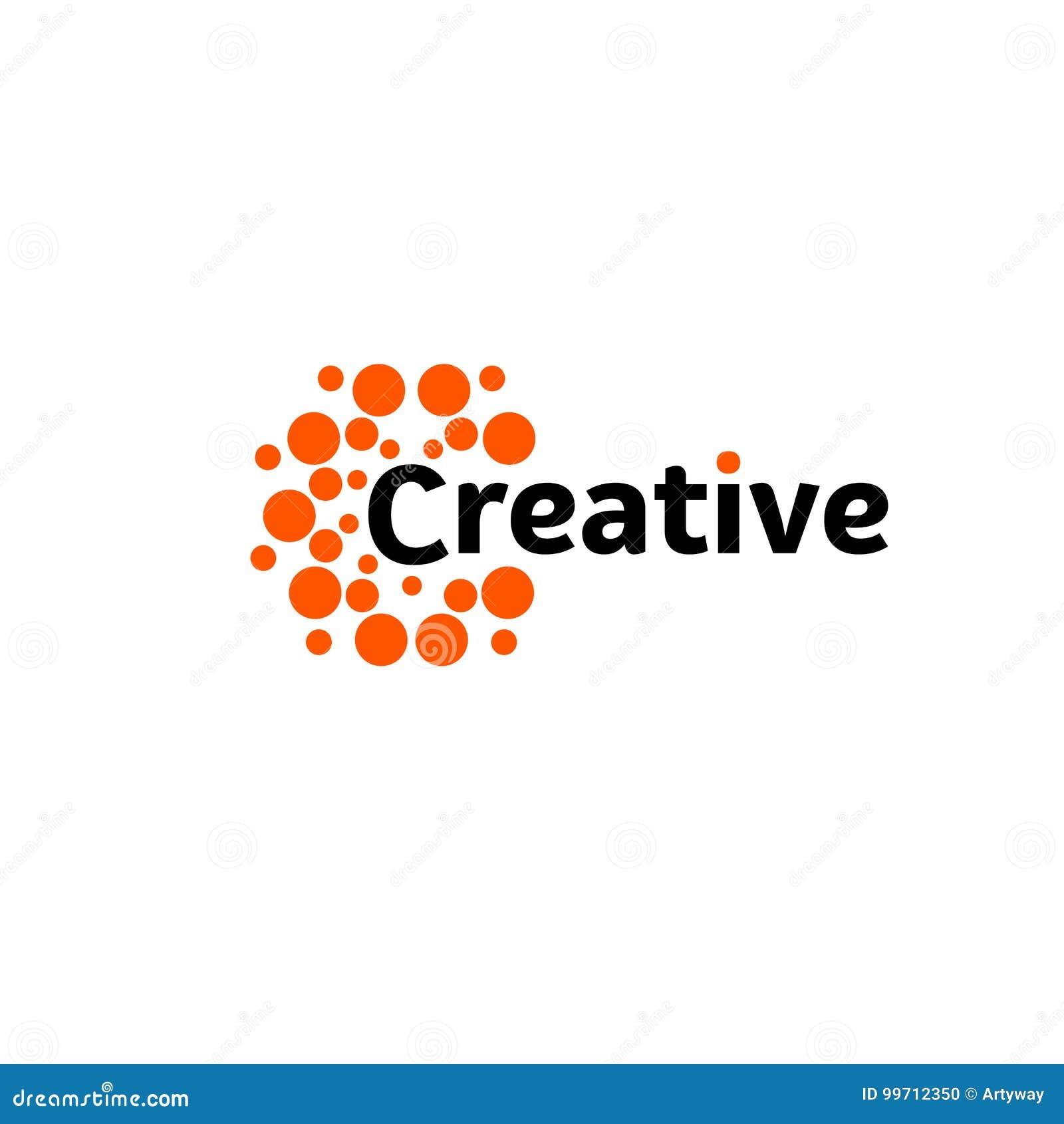 Creative energy sun. Abstract brain hemispheres logo, round shapes, abstract vector unusual logotype template.