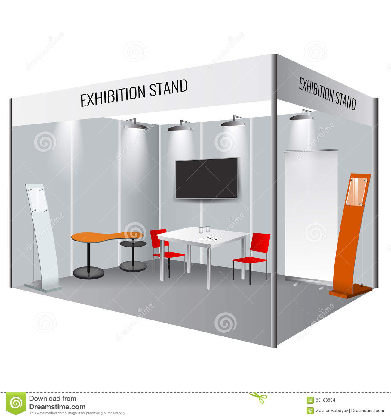 Exhibition Stand Design Mockup Free Download : Creative exhibition stand design booth template