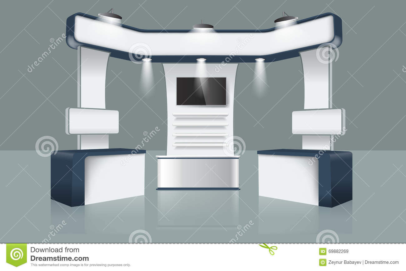 Exhibition Booth Vector : Creative exhibition stand design booth template