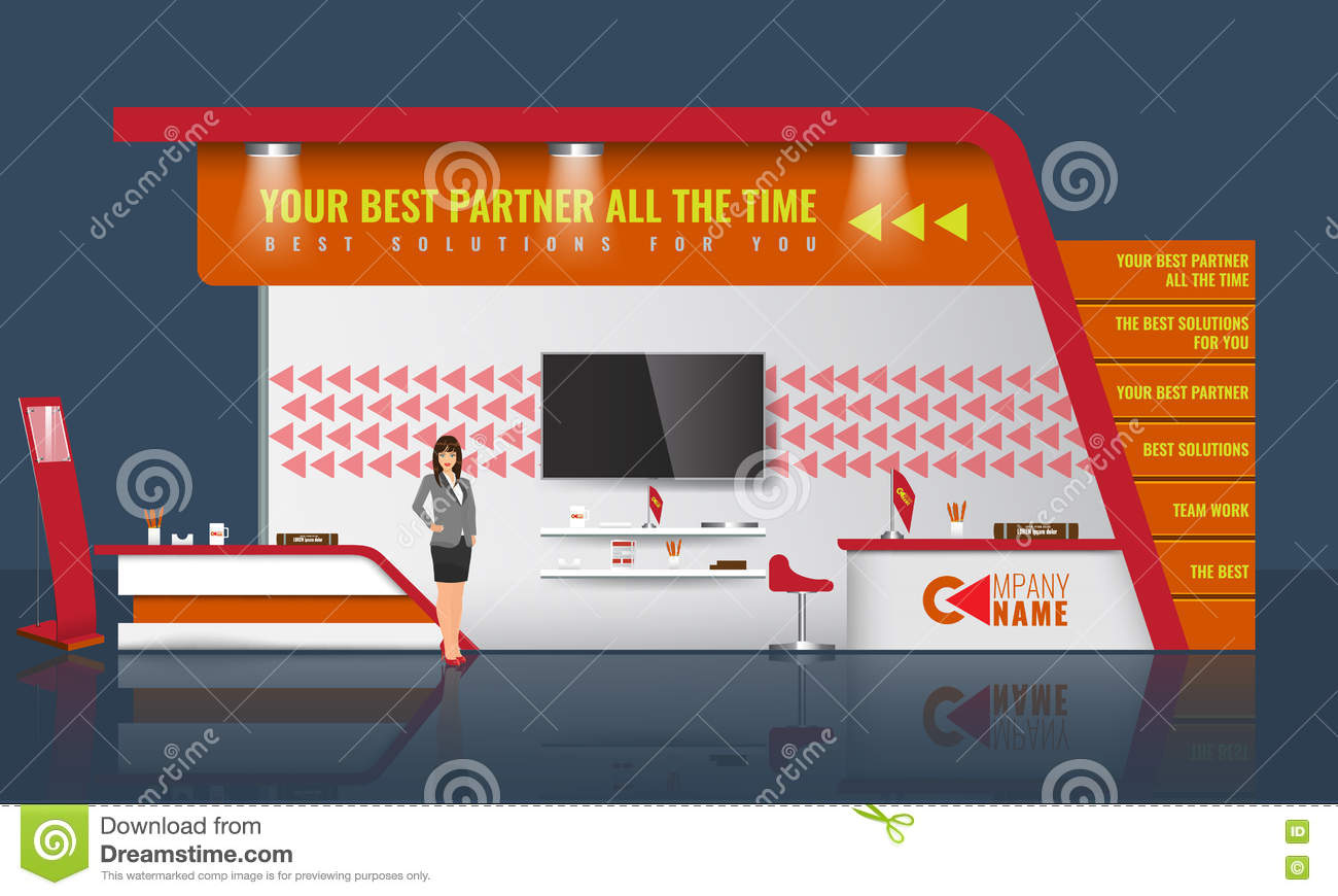 Simple Exhibition Stand Vector : Creative exhibition stand design trade booth template