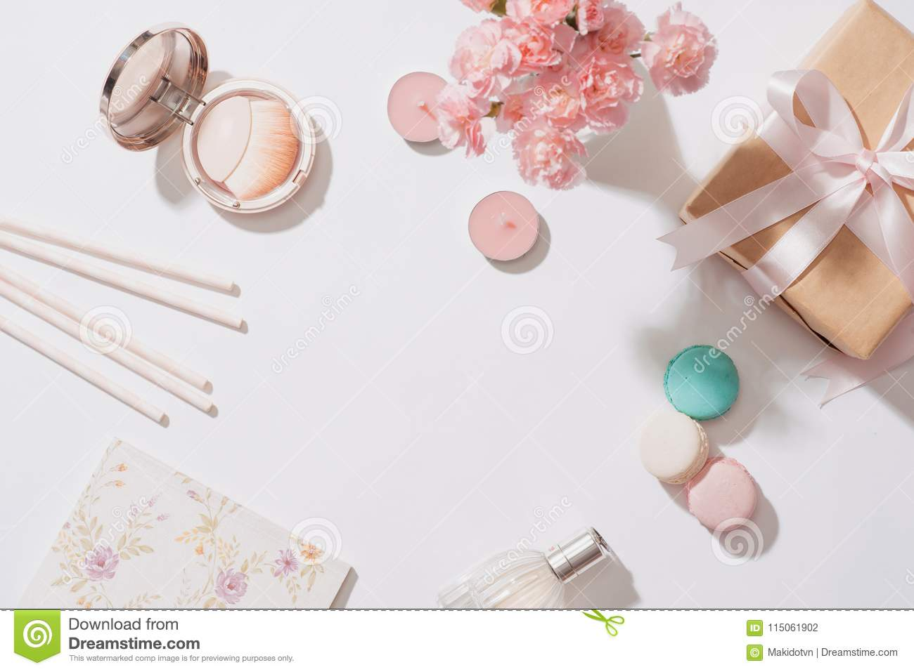 Creative and fashion composition. Stationery objects on desk. Fl