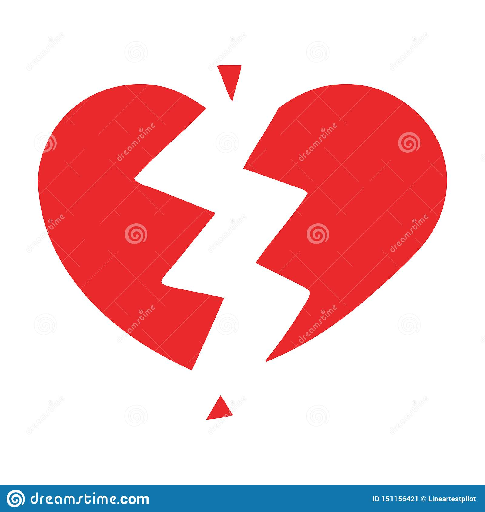 A creative flat color retro cartoon broken heart