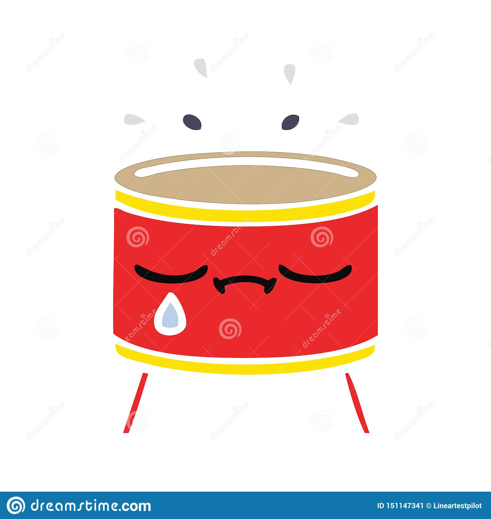 A creative flat color retro cartoon sad drum