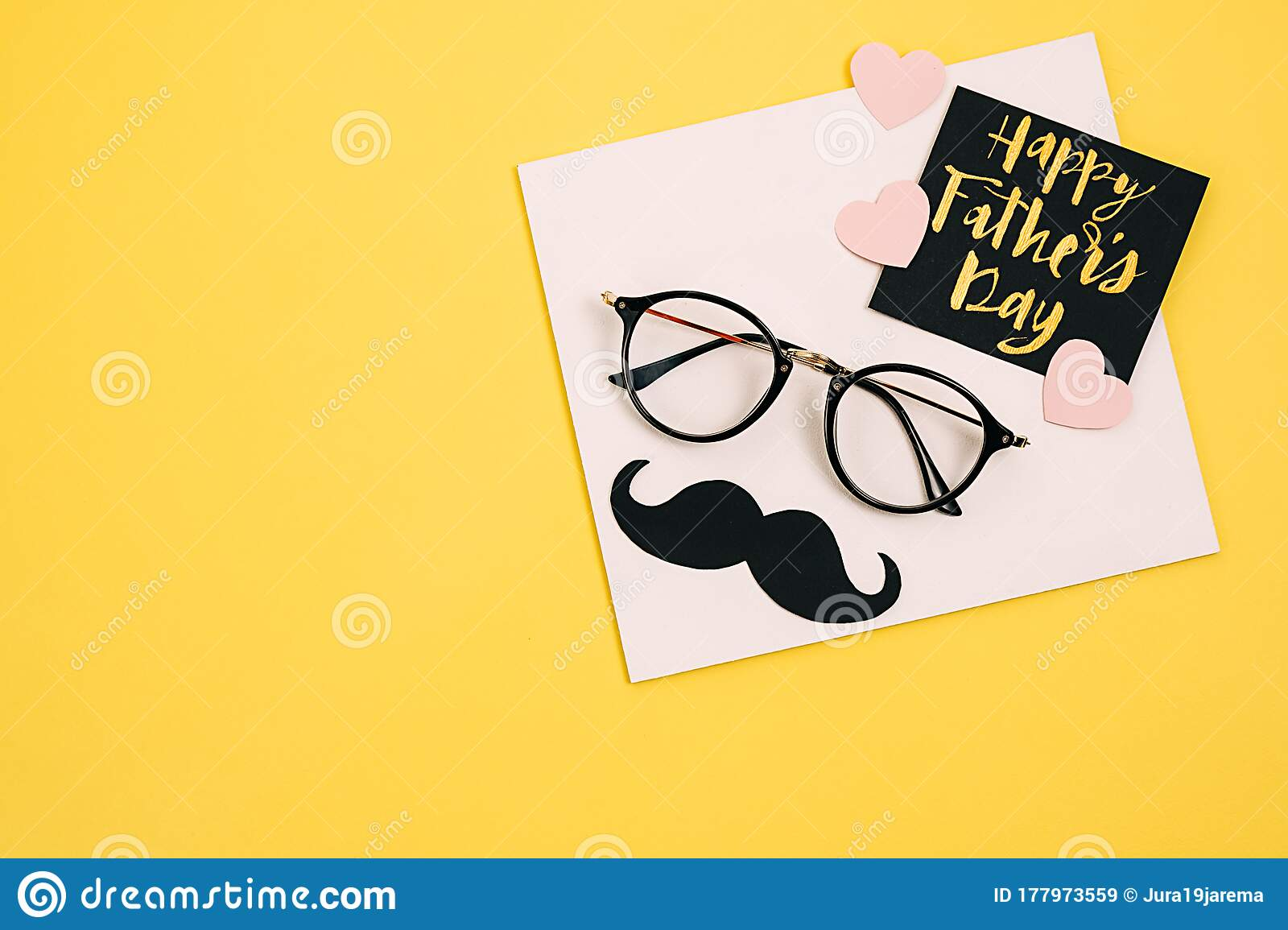 creative flat lay composition with card text happy father