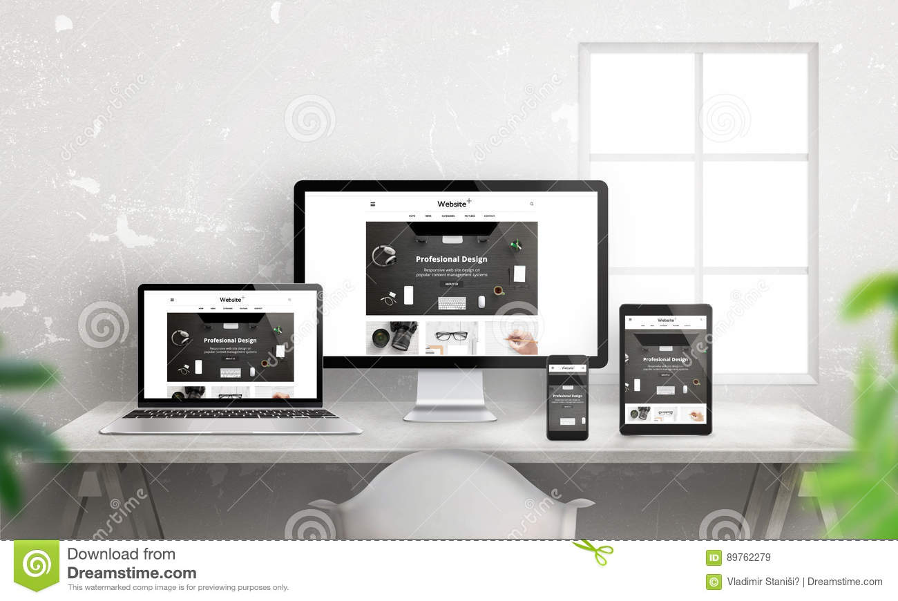 Creative flat responsive web site promotion on different devices