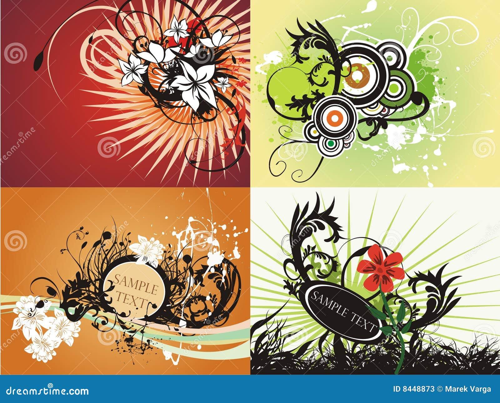 Creative floral fresh graphic set