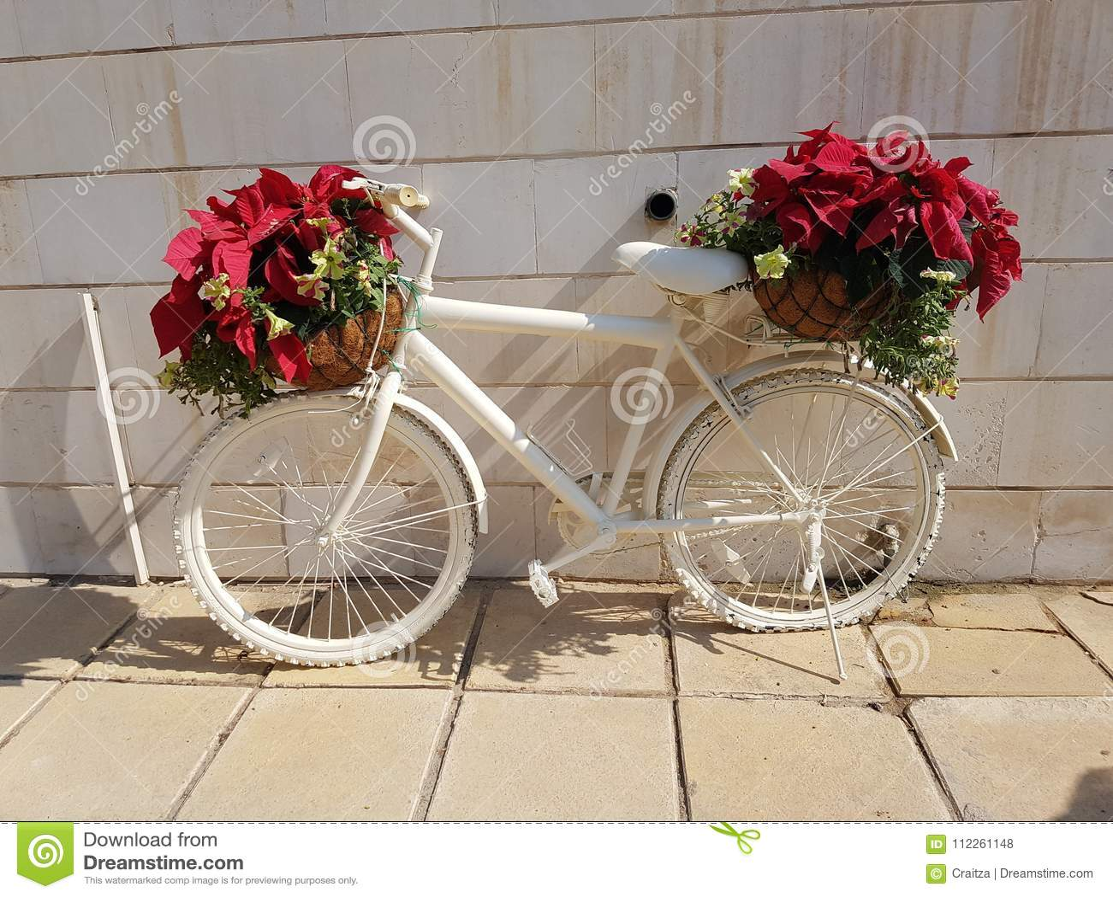 Creative flowers bouquets white bicycle display stock photo image creative flowers bouquets white bicycle display izmirmasajfo