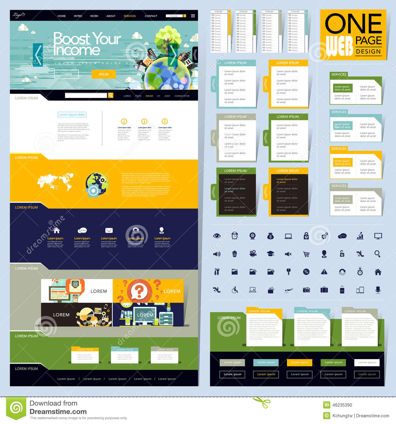 Creative Folder Style One Page Website Design Stock Vector