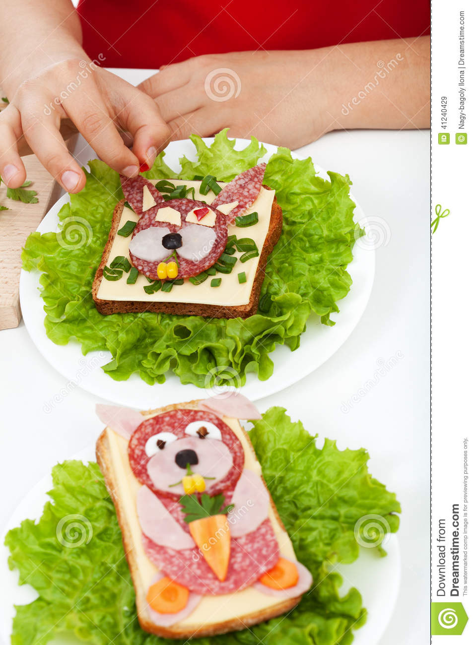 Creative food creature sandwiches decoration stock photo image 41240429 - Deco snack ...