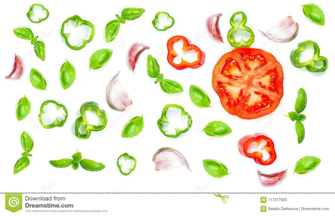 Creative food pattern with Fresh vegetables, herbs and spices is