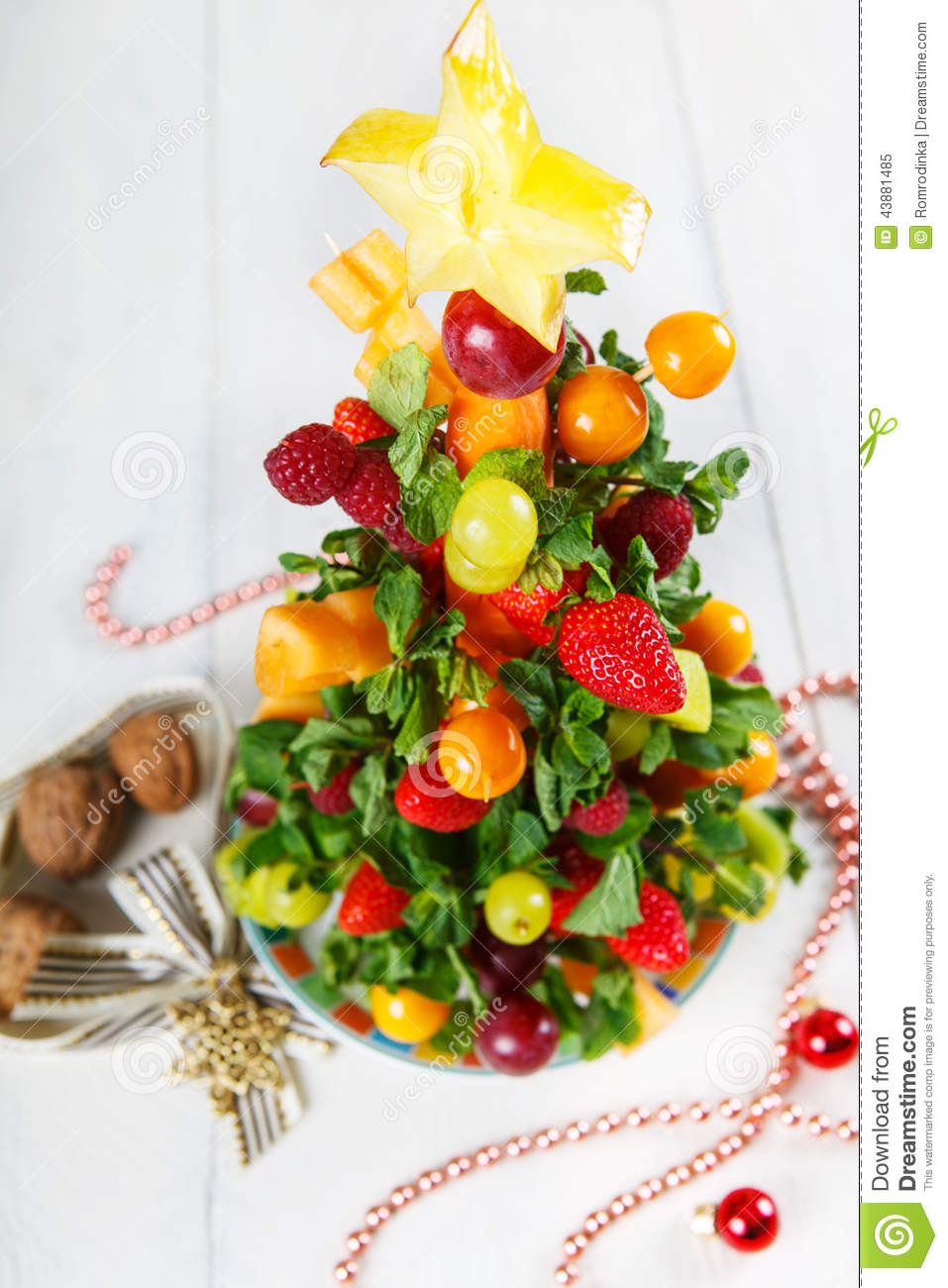 Creative Fruit Christmas Tree With Different Berries