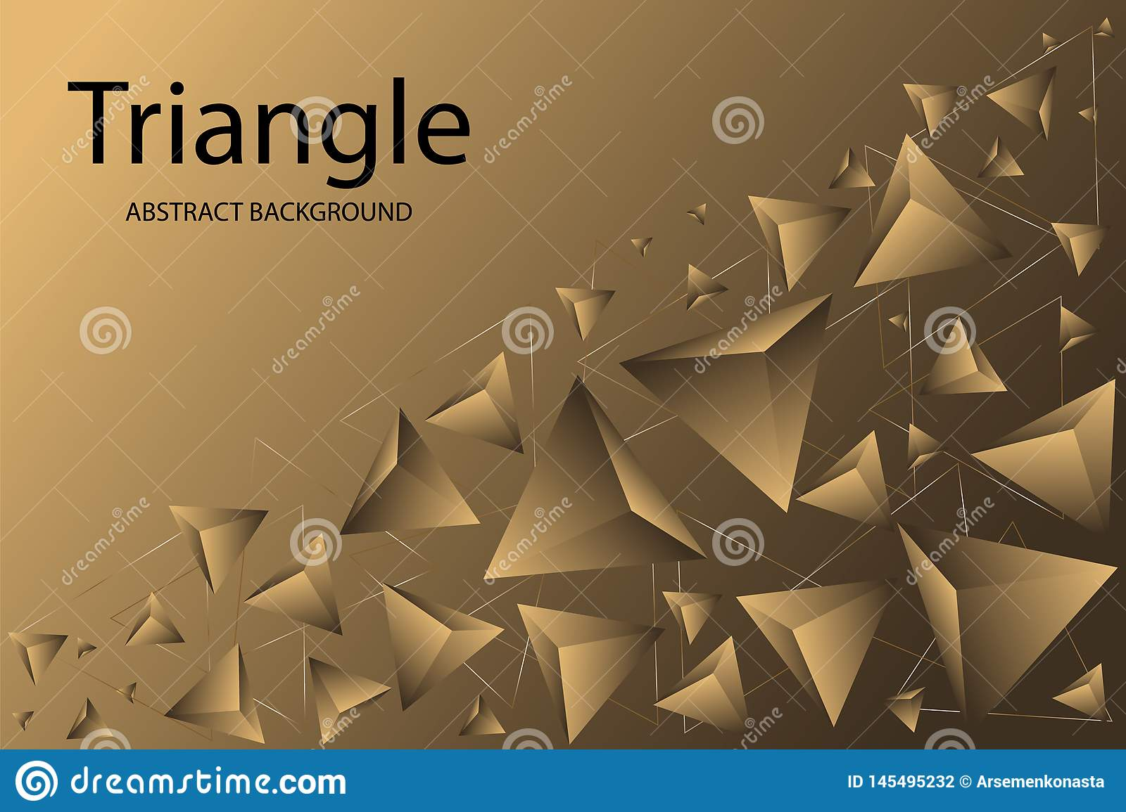 Creative gold abstract background with geometric shapes