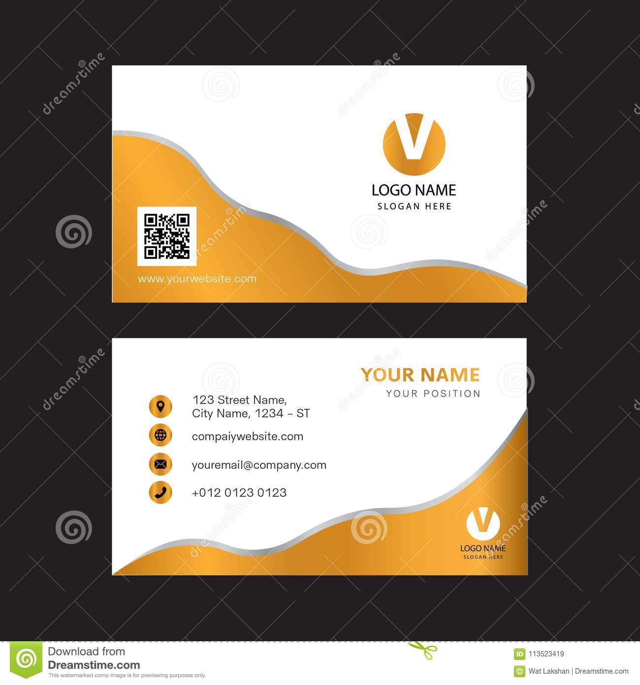 Creative Gold Color Business Card Design Stock Vector ...