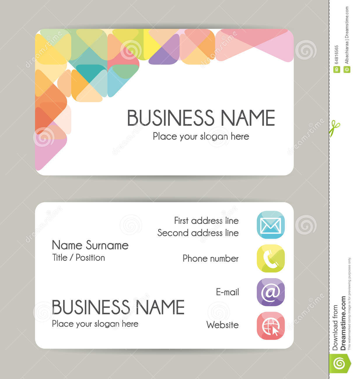 creative graphic business card design front and back illustration 64816565 megapixl - Back Of Business Card