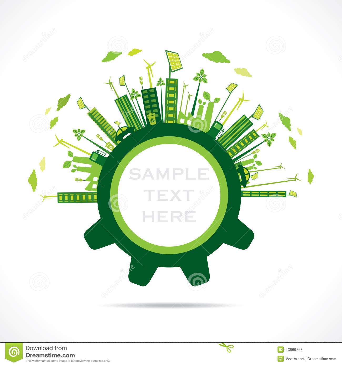 Creative green city design in gear concept stock image for Green plans