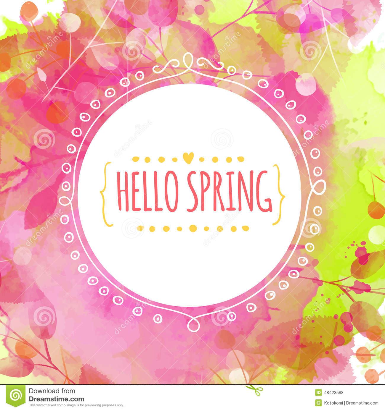 Creative green and pink texture with leaves and berries traces. Doodle circle frame with text hello spring. Vector design for