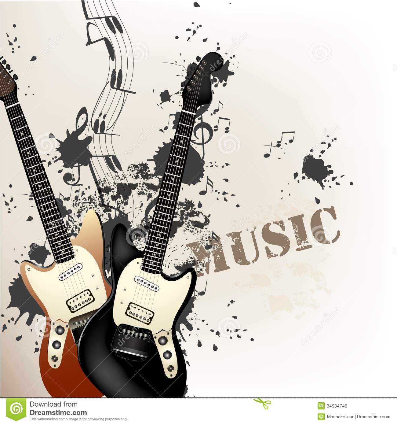 Creative Grunge Music Background With Bass Guitars Royalty ...