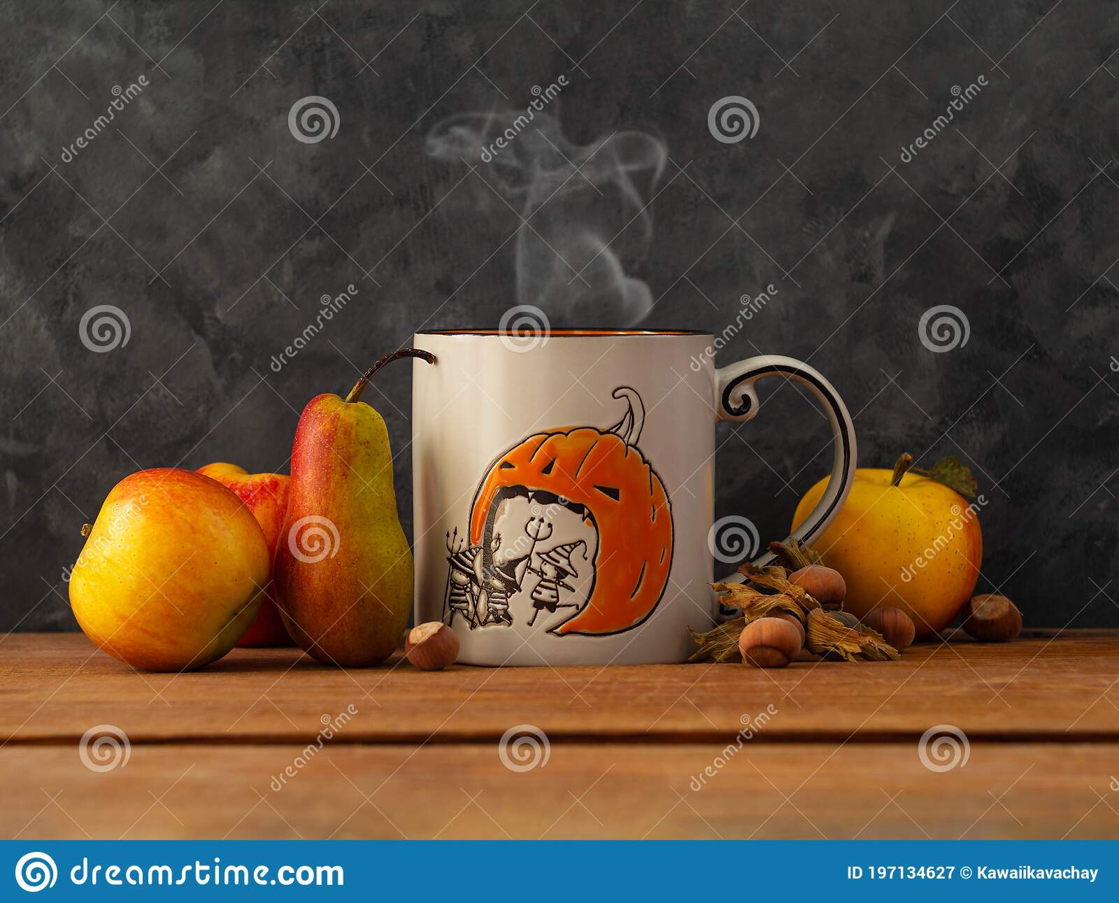 Creative Halloween Day Composition With Coffee Cup Steam Fruits And Nuts On Dark Background Autumn Greeting Card Design Stock Image Image Of Concept Background 197134627